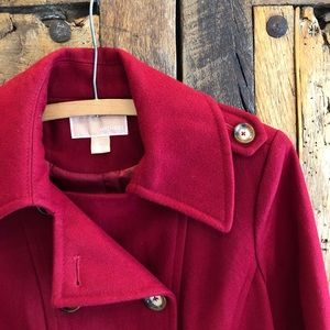 Michael Kors Double Breasted Red Wool Pea Coat S